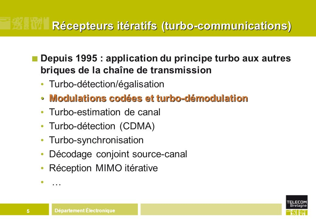 Département Électronique 5 Depuis 1995 : application du principe turbo aux autres briques de la chaîne de transmission Turbo-détection/égalisation Mod
