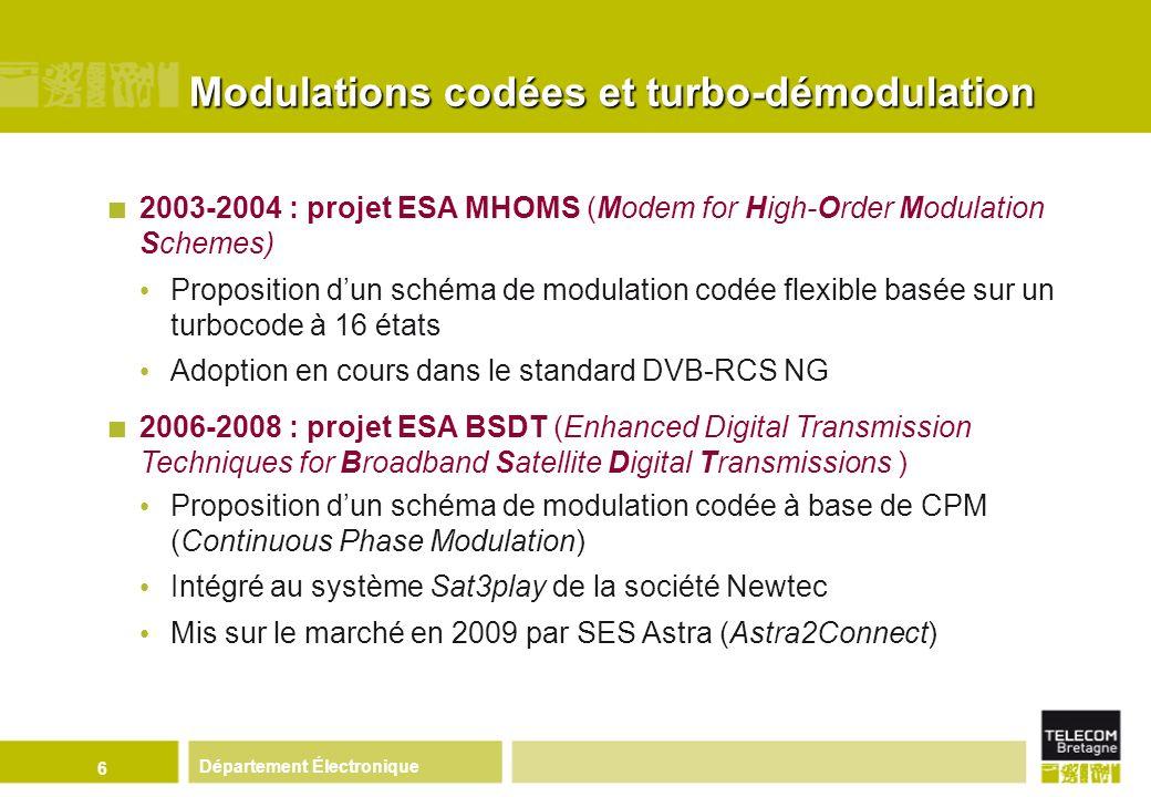Département Électronique 7 2007-2009 : le projet B21C Elaboration de propositions techniques pour la 2 nde génération du standard européen la TNT, DVB-T2 Codage de canal : turbocode de nouvelle génération (TC 3D) Diversité de constellation (constellations tournées et entrelacées)