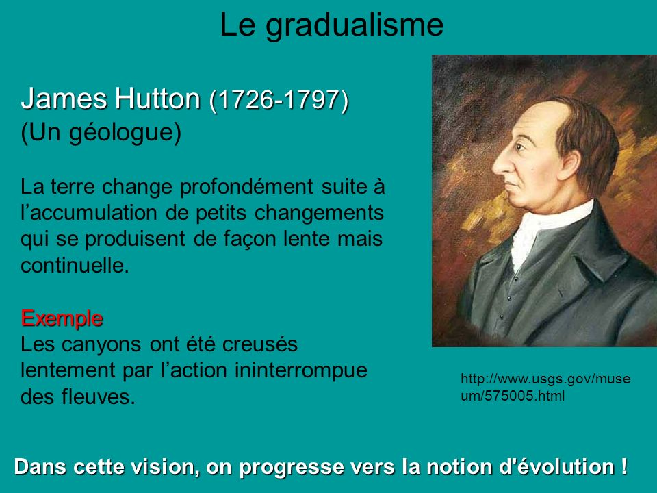 Le gradualisme James Hutton (1726-1797) (Un géologue) La terre change profondément suite à laccumulation de petits changements qui se produisent de façon lente mais continuelle.Exemple Les canyons ont été creusés lentement par laction ininterrompue des fleuves.
