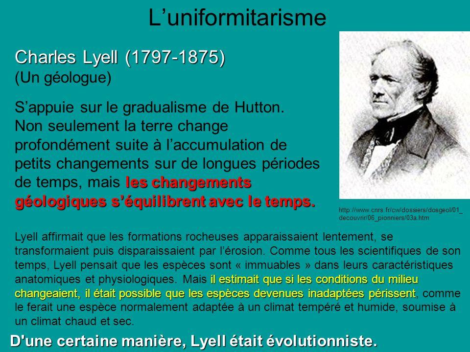 Luniformitarisme Charles Lyell (1797-1875) (Un géologue) Sappuie sur le gradualisme de Hutton.