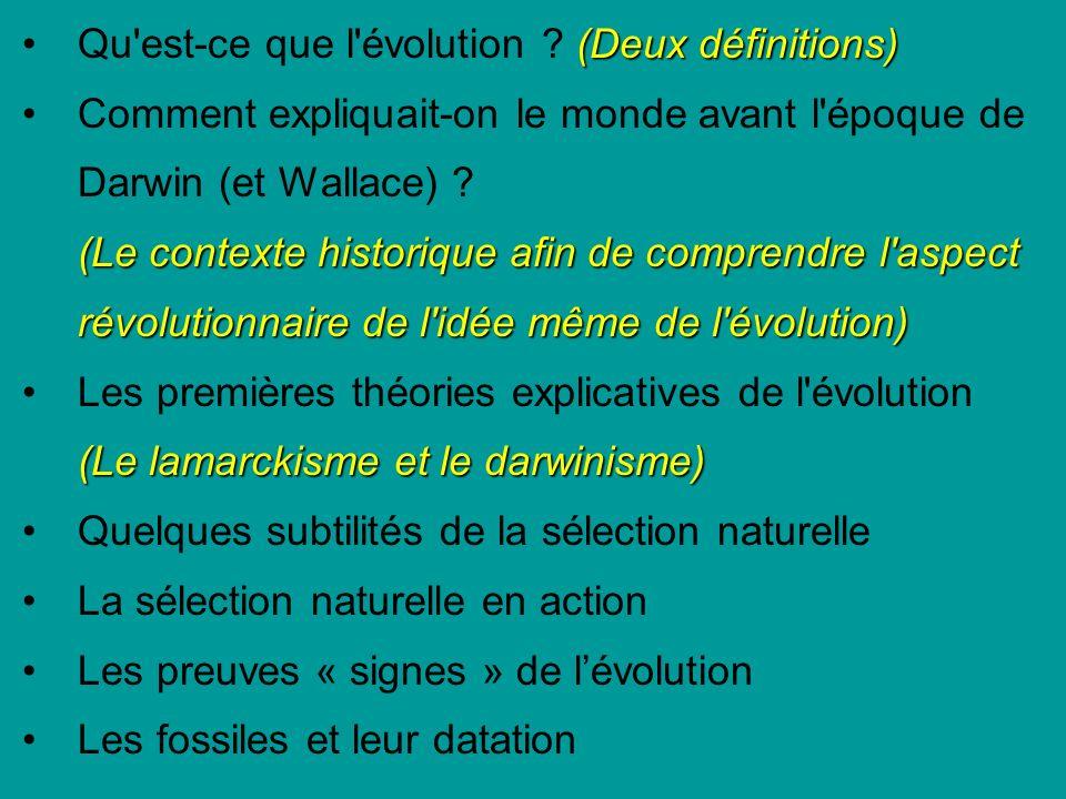 (Deux définitions)Qu est-ce que l évolution .