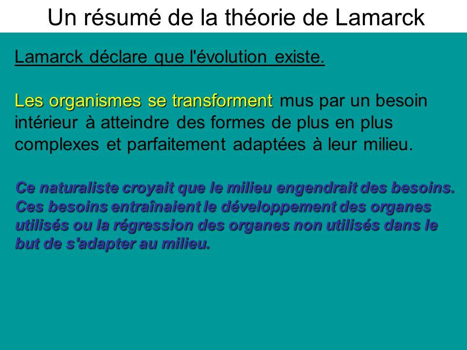 Lamarck déclare que l évolution existe.