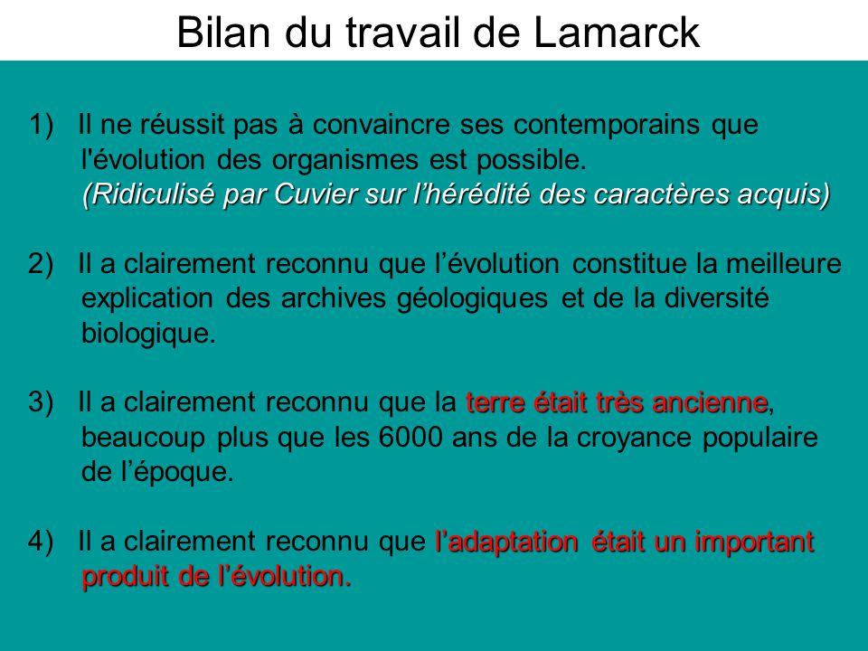 Bilan du travail de Lamarck 1) Il ne réussit pas à convaincre ses contemporains que l évolution des organismes est possible.