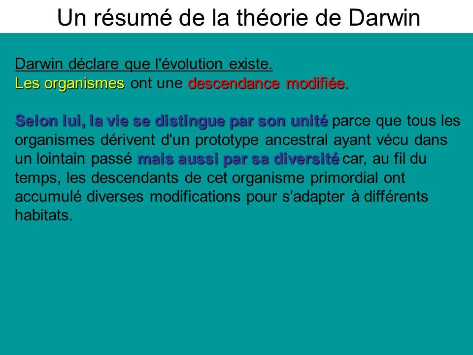 Darwin déclare que l évolution existe.Les organismes descendance modifiée.