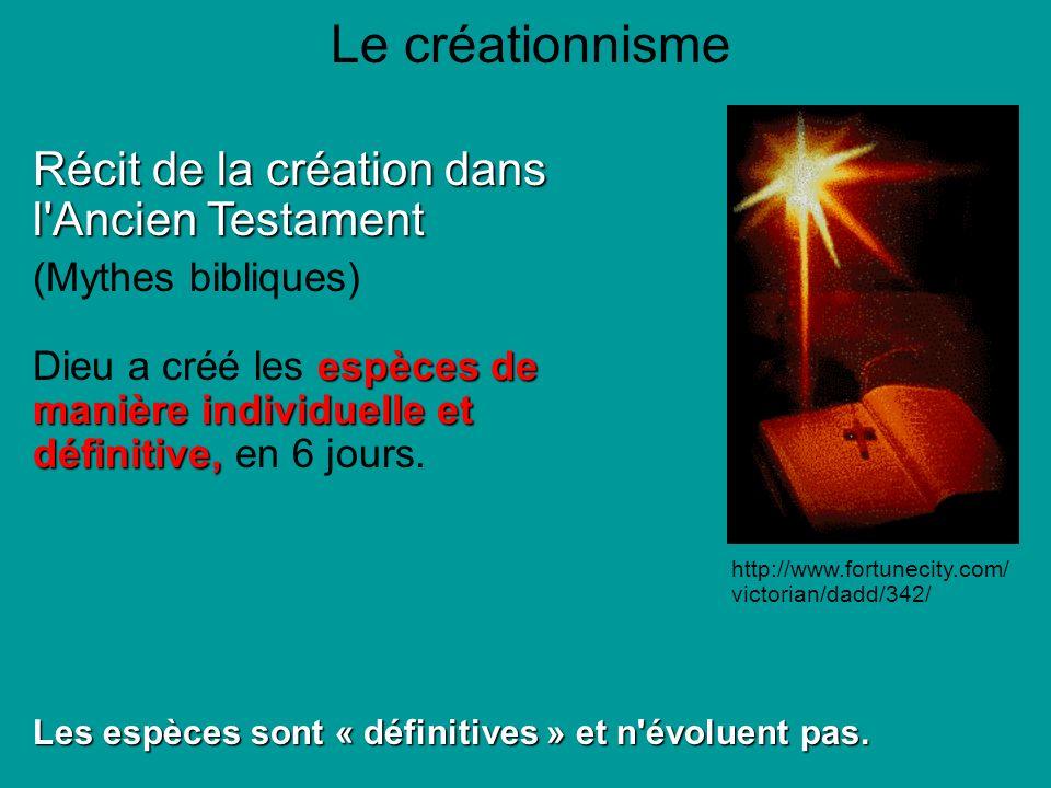 Le créationnisme Récit de la création dans l Ancien Testament (Mythes bibliques) espèces de manière individuelle et définitive, Dieu a créé les espèces de manière individuelle et définitive, en 6 jours.