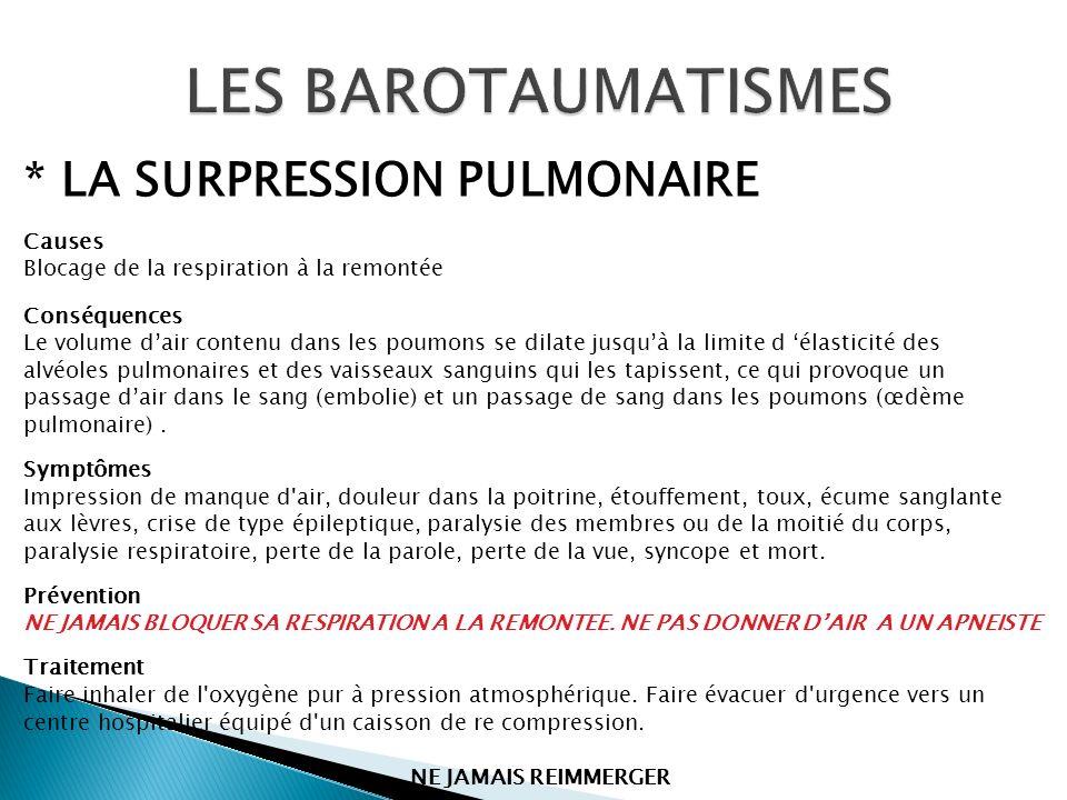* LA SURPRESSION PULMONAIRE Causes Blocage de la respiration à la remontée Conséquences Le volume dair contenu dans les poumons se dilate jusquà la li