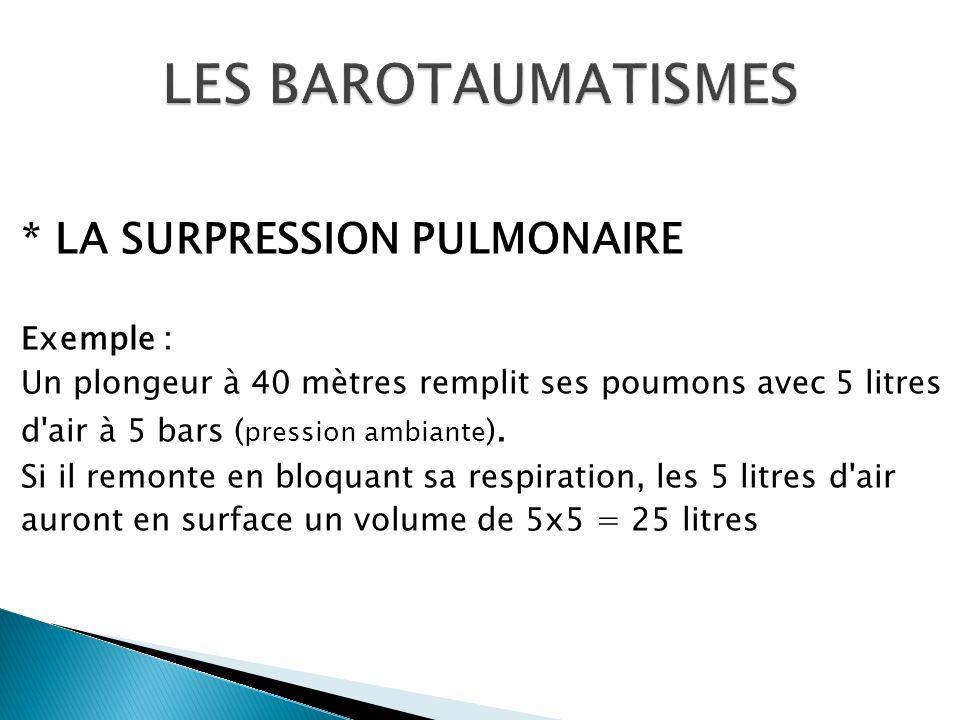 * LA SURPRESSION PULMONAIRE Exemple : Un plongeur à 40 mètres remplit ses poumons avec 5 litres d'air à 5 bars ( pression ambiante ). Si il remonte en