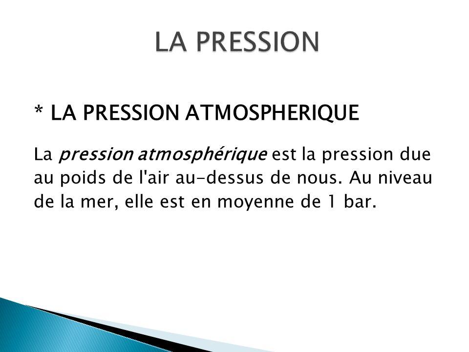 * LA PRESSION ATMOSPHERIQUE La pression atmosphérique est la pression due au poids de l'air au-dessus de nous. Au niveau de la mer, elle est en moyenn
