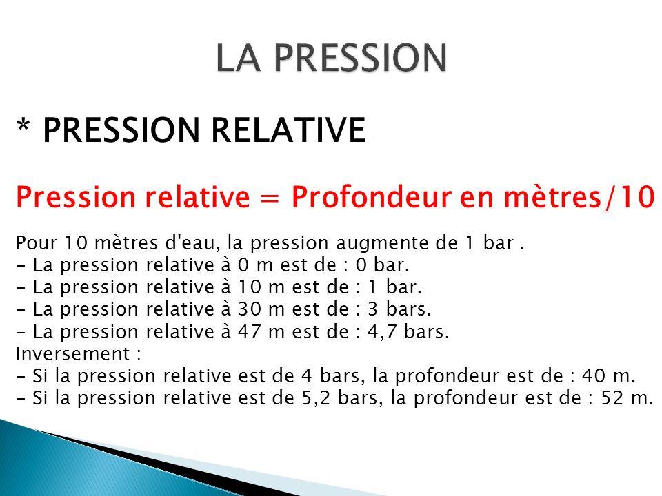 * PRESSION RELATIVE Pression relative = Profondeur en mètres/10 Pour 10 mètres d'eau, la pression augmente de 1 bar. - La pression relative à 0 m est