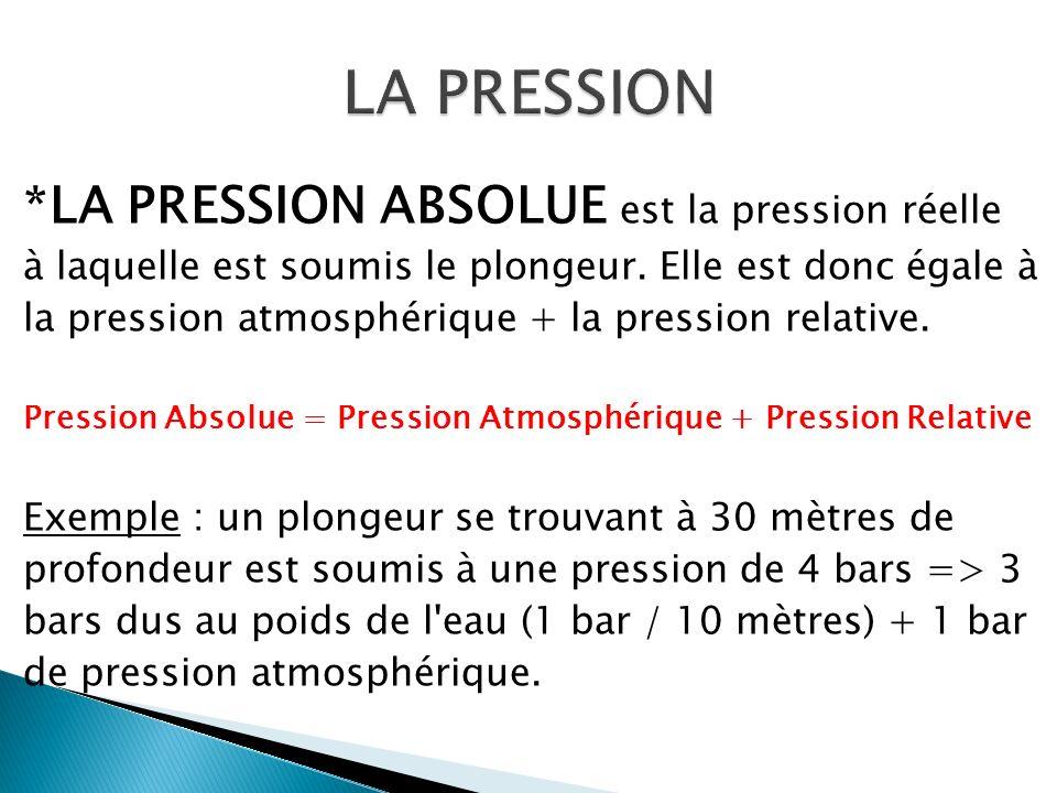 *LA PRESSION ABSOLUE est la pression réelle à laquelle est soumis le plongeur. Elle est donc égale à la pression atmosphérique + la pression relative.
