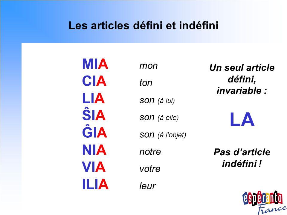 Les articles défini et indéfini MIA mon CIA ton LIA son (à lui) ŜIA son (à elle) ĜIA son (à lobjet) NIA notre VIA votre ILIA leur Un seul article défi