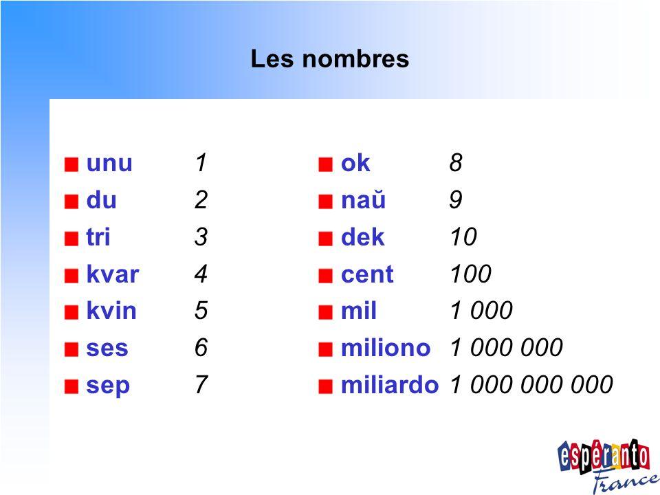 Les nombres unu1 du2 tri3 kvar4 kvin5 ses6 sep7 ok8 naŭ9 dek10 cent100 mil1 000 miliono1 000 000 miliardo1 000 000 000