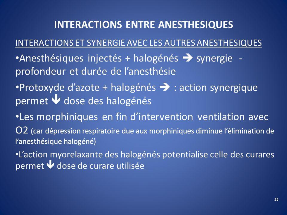 INTERACTIONS ENTRE ANESTHESIQUES INTERACTIONS ET SYNERGIE AVEC LES AUTRES ANESTHESIQUES Anesthésiques injectés + halogénés synergie - profondeur et du