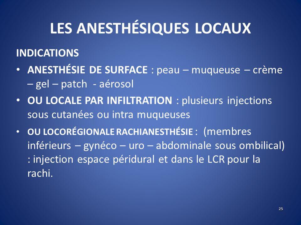 LES ANESTHÉSIQUES LOCAUX INDICATIONS ANESTHÉSIE DE SURFACE : peau – muqueuse – crème – gel – patch - aérosol OU LOCALE PAR INFILTRATION : plusieurs in