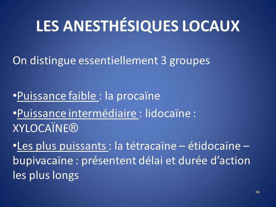 LES ANESTHÉSIQUES LOCAUX On distingue essentiellement 3 groupes Puissance faible : la procaïne Puissance intermédiaire : lidocaïne : XYLOCAÏNE ® Les p