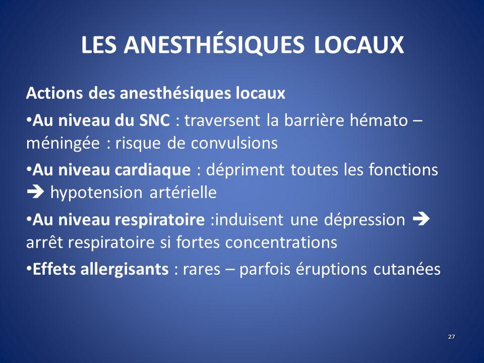 LES ANESTHÉSIQUES LOCAUX Actions des anesthésiques locaux Au niveau du SNC : traversent la barrière hémato – méningée : risque de convulsions Au nivea