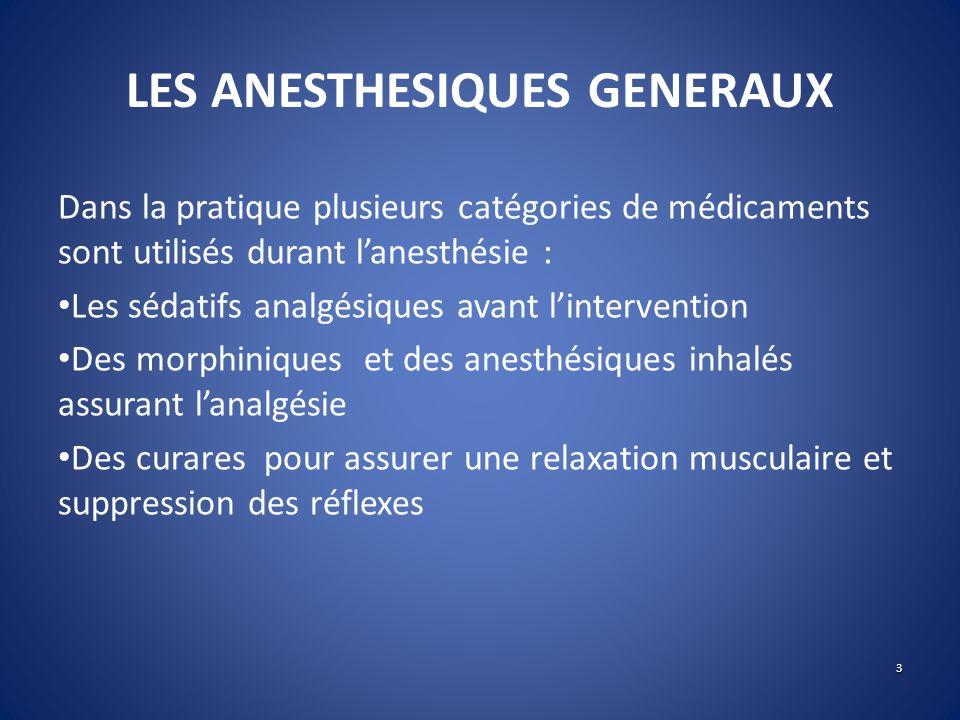 LES ANESTHESIQUES GENERAUX Dans la pratique plusieurs catégories de médicaments sont utilisés durant lanesthésie : Les sédatifs analgésiques avant lin