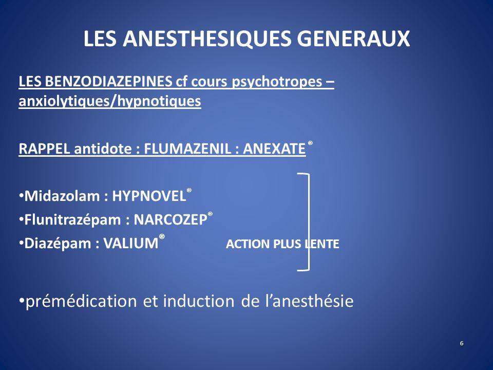 LES ANESTHESIQUES GENERAUX LES BENZODIAZEPINES cf cours psychotropes – anxiolytiques/hypnotiques RAPPEL antidote : FLUMAZENIL : ANEXATE ® Midazolam :