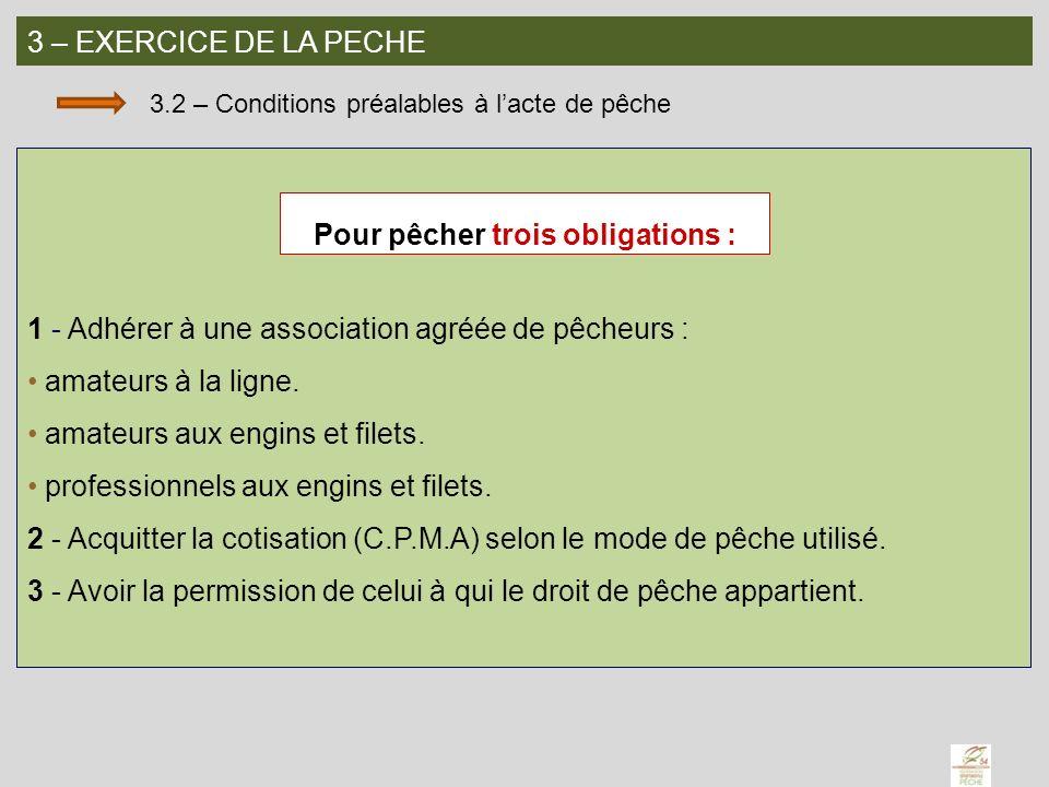 3 – EXERCICE DE LA PECHE 3.2 – Conditions préalables à lacte de pêche 1 - Adhérer à une association agréée de pêcheurs : amateurs à la ligne. amateurs