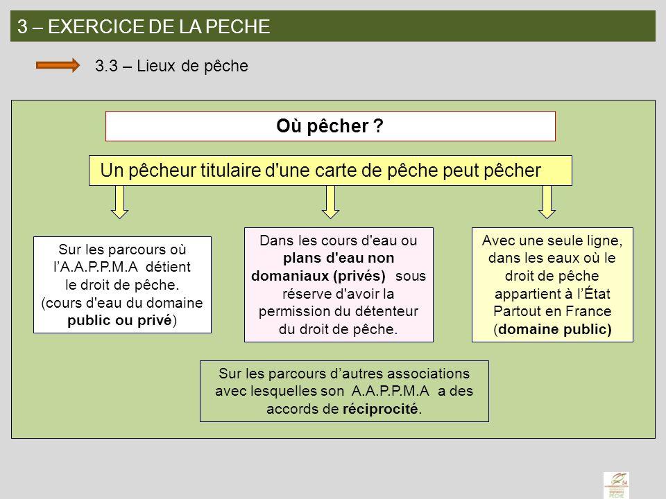 3 – EXERCICE DE LA PECHE 3.3 – Lieux de pêche Où pêcher ? Un pêcheur titulaire d'une carte de pêche peut pêcher Sur les parcours où lA.A.P.P.M.A détie