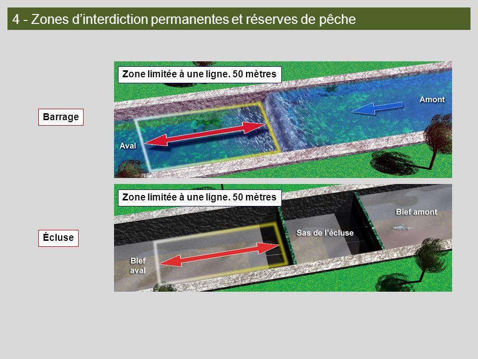 4 - Zones dinterdiction permanentes et réserves de pêche Barrage Écluse Zone limitée à une ligne. 50 mètres