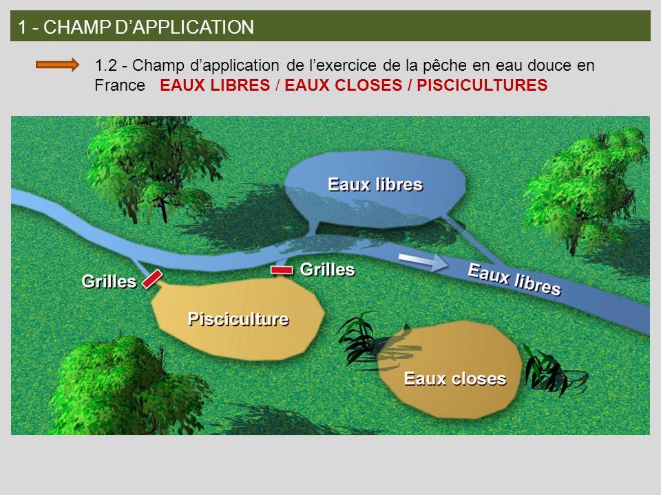 1 - CHAMP DAPPLICATION 1.2 - Champ dapplication de lexercice de la pêche en eau douce en France EAUX LIBRES / EAUX CLOSES / PISCICULTURES
