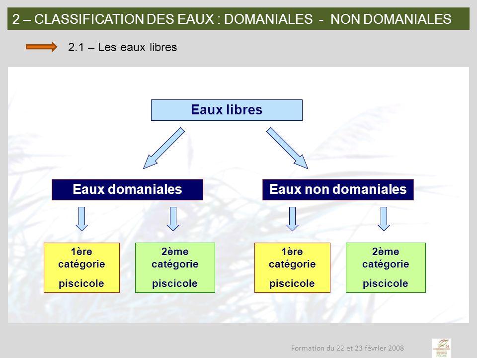 2 – CLASSIFICATION DES EAUX: DOMANIALES - NON DOMANIALES 2.2 – Le droit de pêche: eaux domaniales (dites publics) Le droit de pêche appartient à lÉtat.