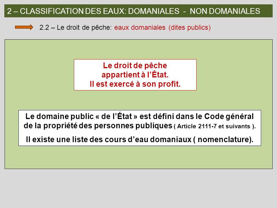 2 – CLASSIFICATION DES EAUX: DOMANIALES - NON DOMANIALES 2.3 – Le droit de pêche: eaux non domaniales (dites privées) Les propriétaires riverains ont, chacun de leur côté, le droit de pêche jusquau milieu du cours deau ou du canal.