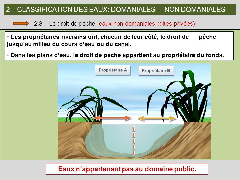 2 – CLASSIFICATION DES EAUX: DOMANIALES - NON DOMANIALES 2.3 – Le droit de pêche: eaux non domaniales (dites privées) Les propriétaires riverains ont,