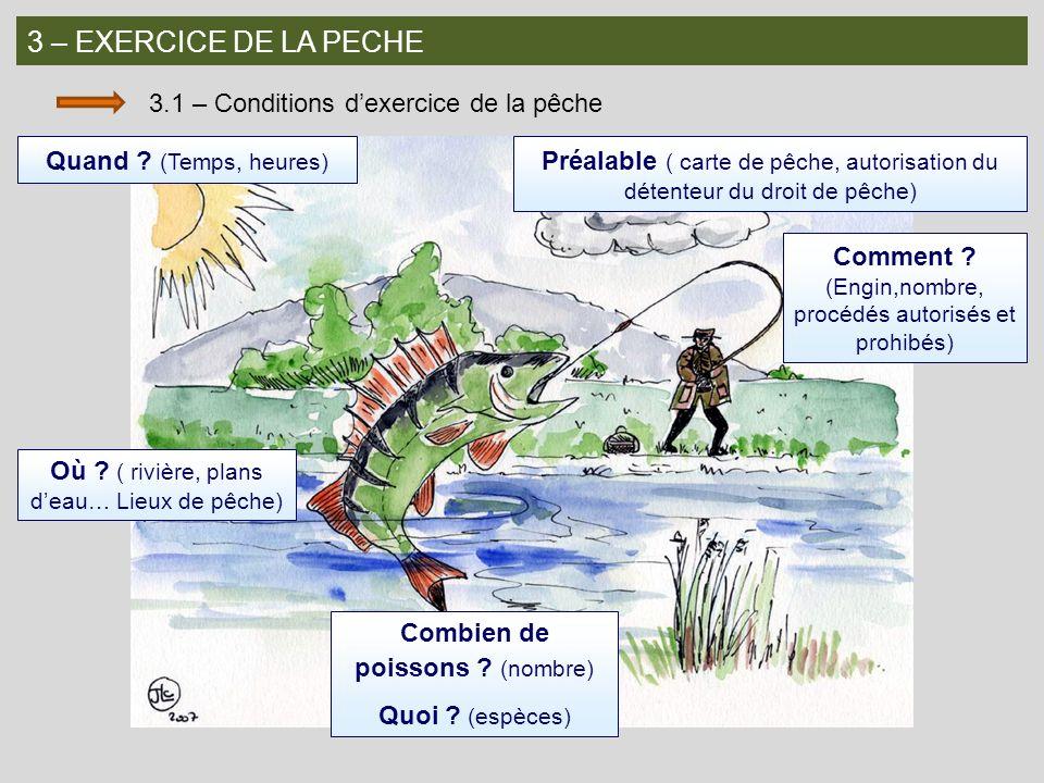 3 – EXERCICE DE LA PECHE 3.1 – Conditions dexercice de la pêche Quand ? (Temps, heures) Préalable ( carte de pêche, autorisation du détenteur du droit