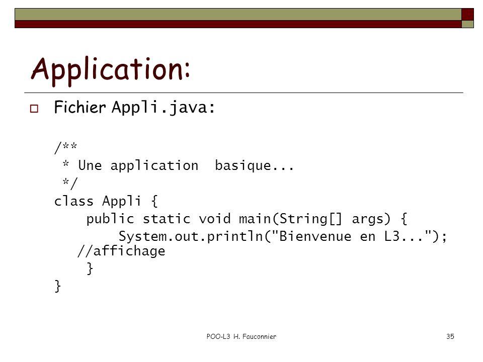 POO-L3 H.Fauconnier35 Application: Fichier Appli.java: /** * Une application basique...