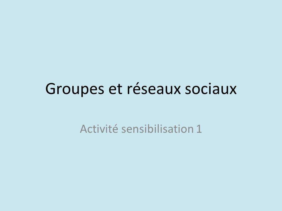 Groupes et réseaux sociaux Activité sensibilisation 1