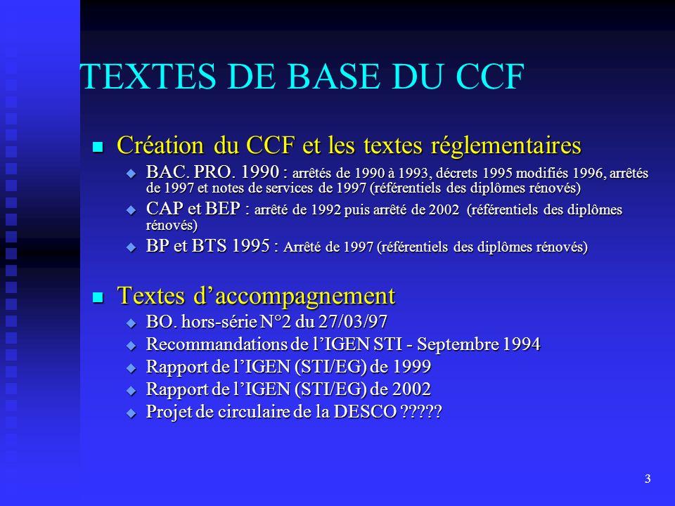3 TEXTES DE BASE DU CCF n Création du CCF et les textes réglementaires u BAC.