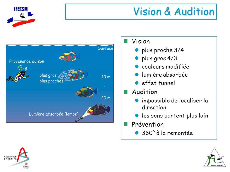 Vision & Audition Vision plus proche 3/4 plus gros 4/3 couleurs modifiée lumière absorbée effet tunnel Audition impossible de localiser la direction l