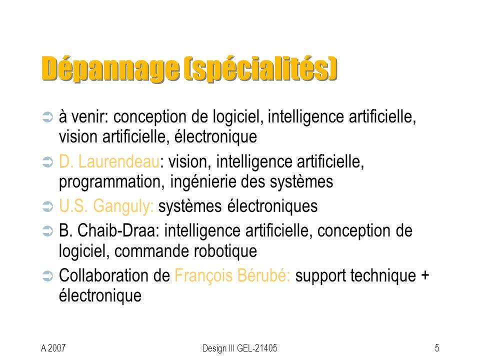 A 2007Design III GEL-214055 Dépannage (spécialités) à venir: conception de logiciel, intelligence artificielle, vision artificielle, électronique D.