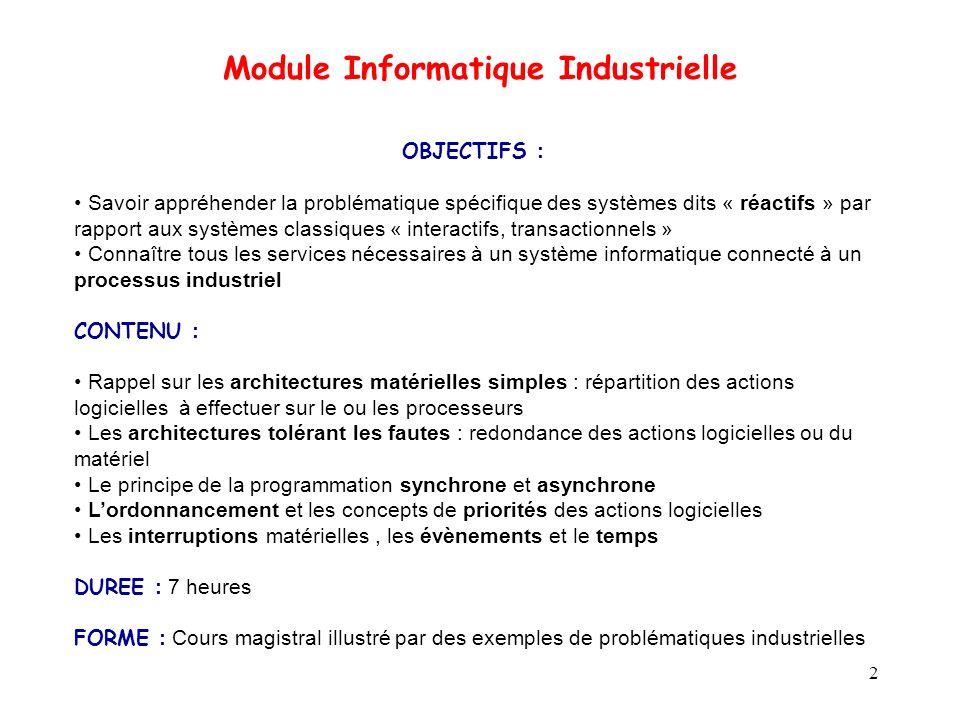 2 OBJECTIFS : Savoir appréhender la problématique spécifique des systèmes dits « réactifs » par rapport aux systèmes classiques « interactifs, transac