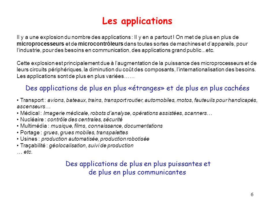 6 Les applications Il y a une explosion du nombre des applications : Il y en a partout ! On met de plus en plus de microprocesseurs et de microcontrôl