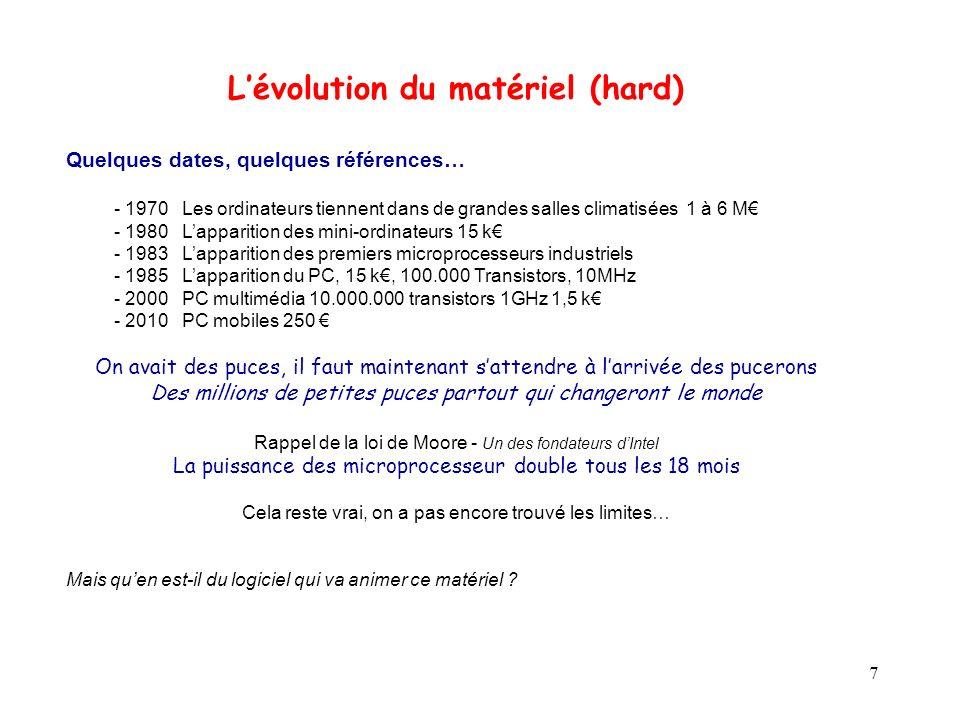 7 Lévolution du matériel (hard) Quelques dates, quelques références… - 1970 Les ordinateurs tiennent dans de grandes salles climatisées 1 à 6 M - 1980