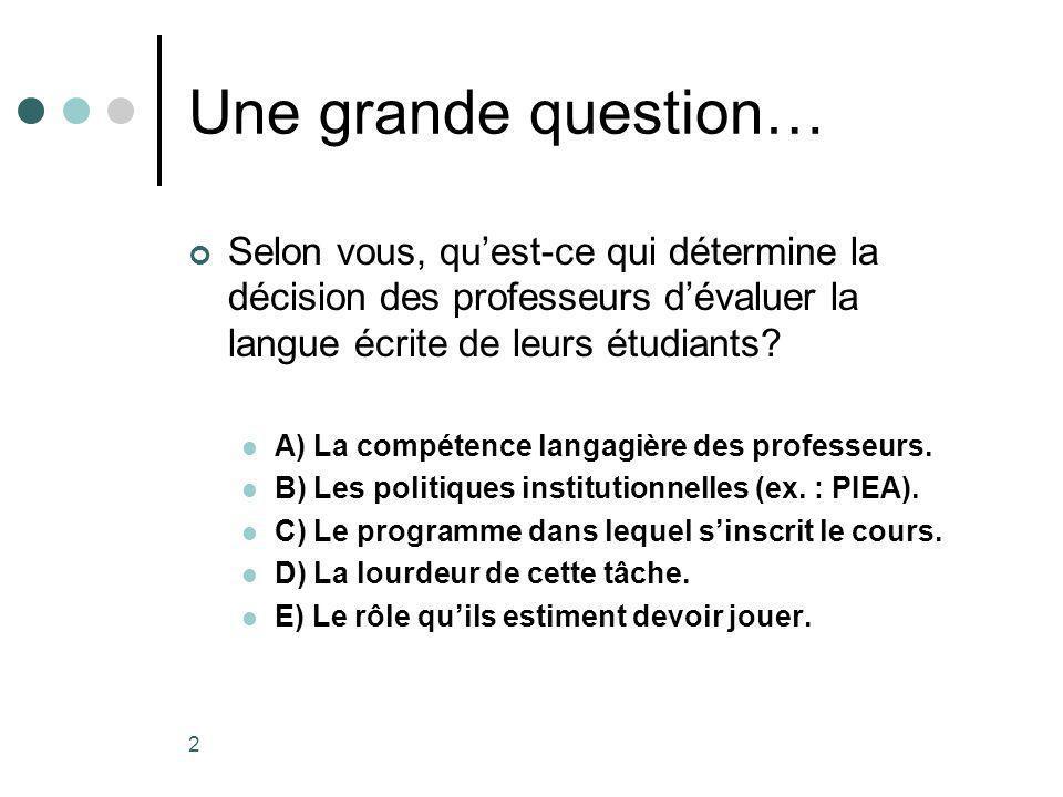 2 Une grande question… Selon vous, quest-ce qui détermine la décision des professeurs dévaluer la langue écrite de leurs étudiants.