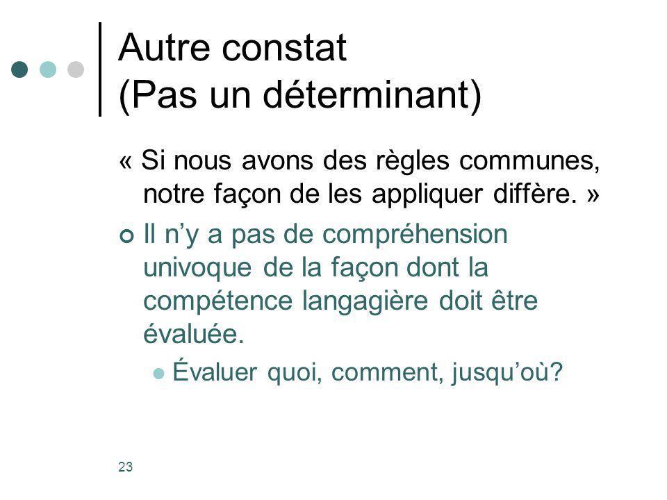 23 Autre constat (Pas un déterminant) « Si nous avons des règles communes, notre façon de les appliquer diffère.