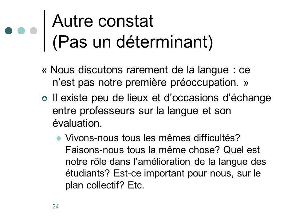 24 Autre constat (Pas un déterminant) « Nous discutons rarement de la langue : ce nest pas notre première préoccupation.
