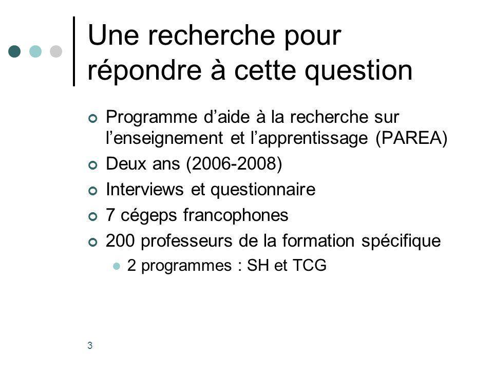 3 Une recherche pour répondre à cette question Programme daide à la recherche sur lenseignement et lapprentissage (PAREA) Deux ans (2006-2008) Interviews et questionnaire 7 cégeps francophones 200 professeurs de la formation spécifique 2 programmes : SH et TCG