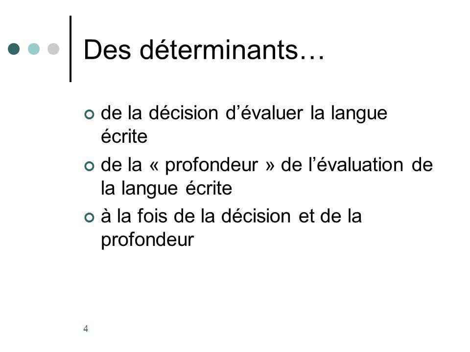 4 Des déterminants… de la décision dévaluer la langue écrite de la « profondeur » de lévaluation de la langue écrite à la fois de la décision et de la profondeur