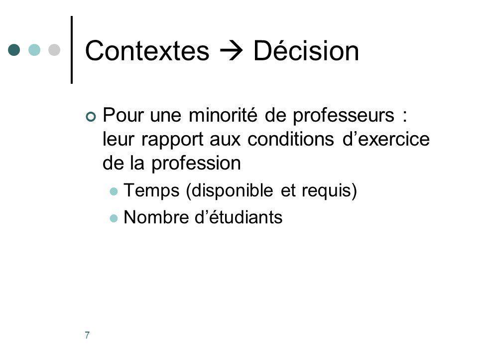 7 Contextes Décision Pour une minorité de professeurs : leur rapport aux conditions dexercice de la profession Temps (disponible et requis) Nombre détudiants