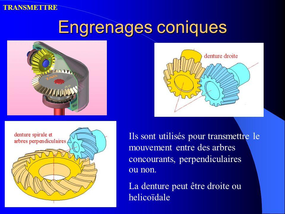 Engrenages coniques Ils sont utilisés pour transmettre le mouvement entre des arbres concourants, perpendiculaires ou non. La denture peut être droite