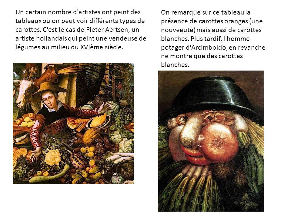 Au milieu du XVIIème siècle, le hollandais Gérard Dou représente une éplucheuse de carottes bien oranges.