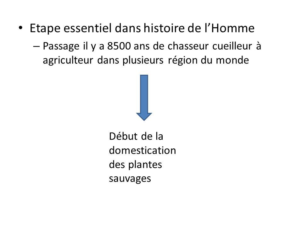 Etape essentiel dans histoire de lHomme – Passage il y a 8500 ans de chasseur cueilleur à agriculteur dans plusieurs région du monde Début de la domes