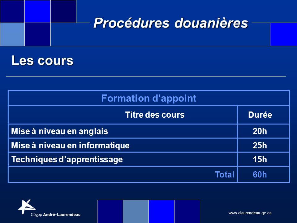 www.claurendeau.qc.ca Procédures douanières Formation dappoint Titre des coursDurée Mise à niveau en anglais20h Mise à niveau en informatique25h Techn