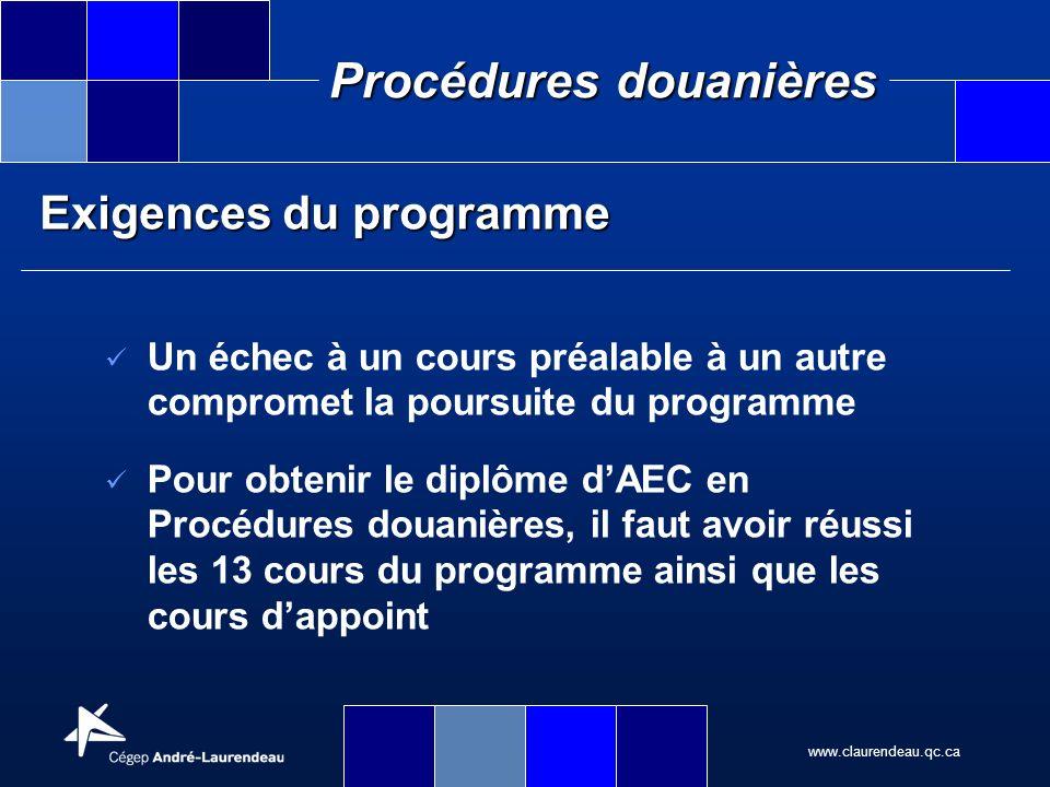 www.claurendeau.qc.ca Procédures douanières Exigences du programme Un échec à un cours préalable à un autre compromet la poursuite du programme Pour o