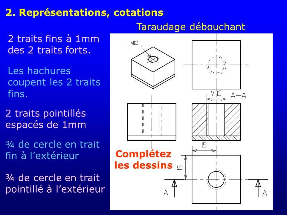 2.Représentations, cotations Taraudage borgne Les hachures coupent les traits fins.